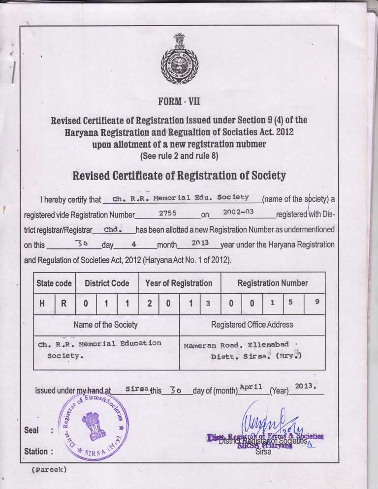 Society Registration Certificate Ch Rr Memorial College Of
